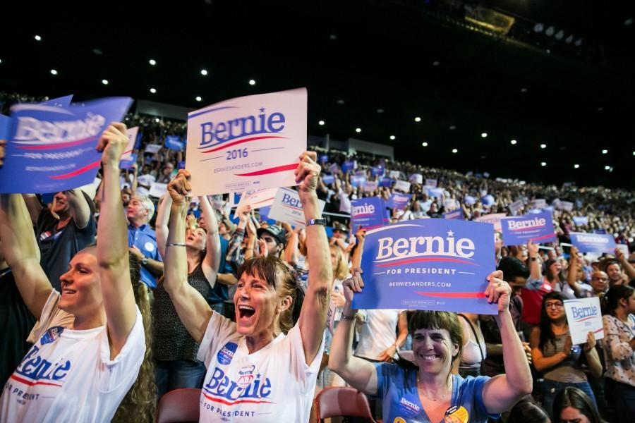 Supporters of presidential candidate Bernie Sanders cheer as he addresses the crowd during his campaign event in Los Angeles on Aug. 10.