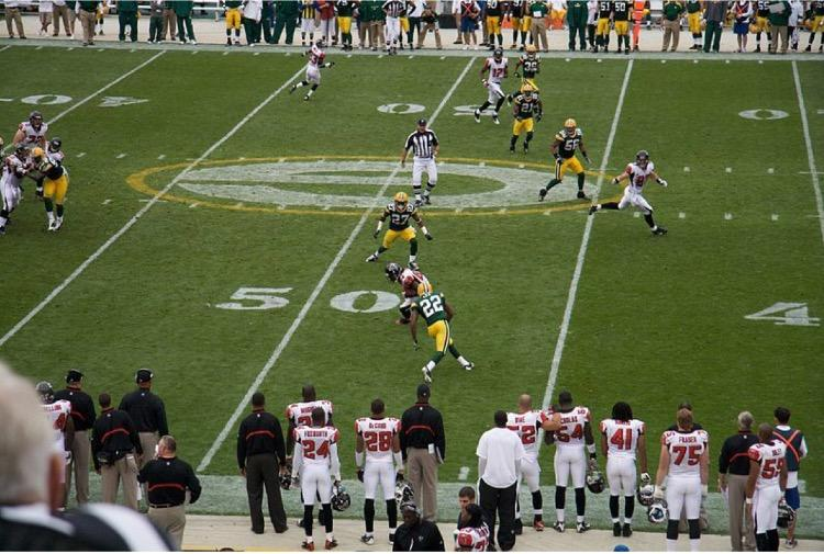 Patrick Lee (22) and the Packers secondary against the Falcons in a 2008 regular season game. The Packers play the Falcons at 3:25 p.m. Sunday at the Georgia Dome in Atlanta.