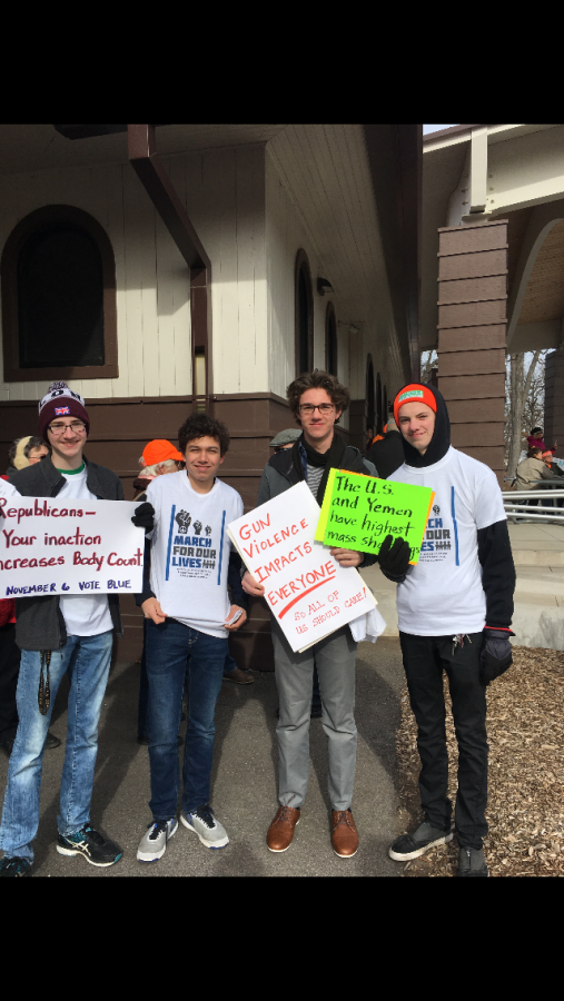 Appleton North students (from left to right) Alex Long, Will Scheffler, Forrest Bomann, and Henry Ptacek helping organize the March For Our Lives protest.