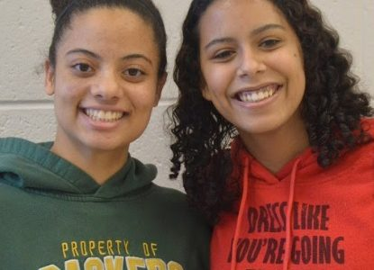 Wearing green and red: Breanna Endter-Tiller and Kyra Carstensen