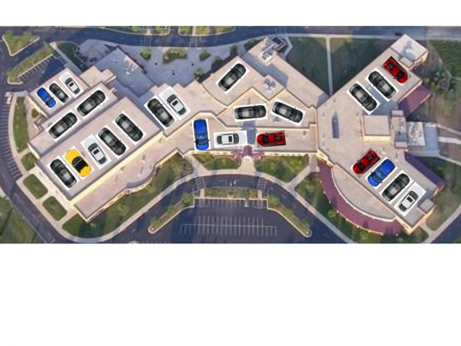 Appleton+North+Seniors+line+their+cars+up+in+neat+rows+on+the+roof+of+the+school