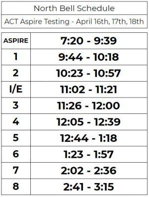 ACT Aspire Testing Schedule
