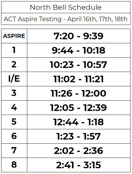 ACT Aspire Testing Schedule