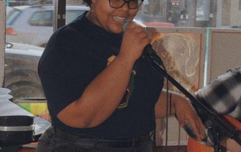 Kala Lones sings at a local coffee house